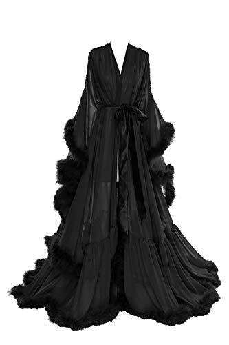 BBCbridal Women Sexy Feather Long Wedding Scarf Illusion Nightgown Robe Perspective Sheer Bathrobe Sleepwear A Black S/M]()
