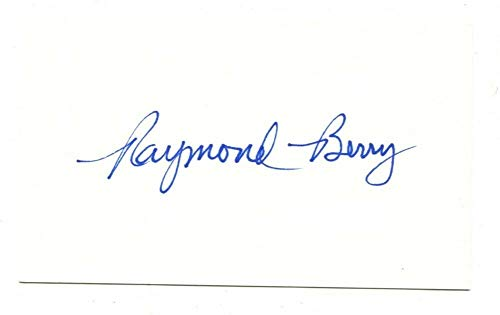 Raymond Berry Signed Autographed 3 X 5 Index Card Baltimore Colts ()