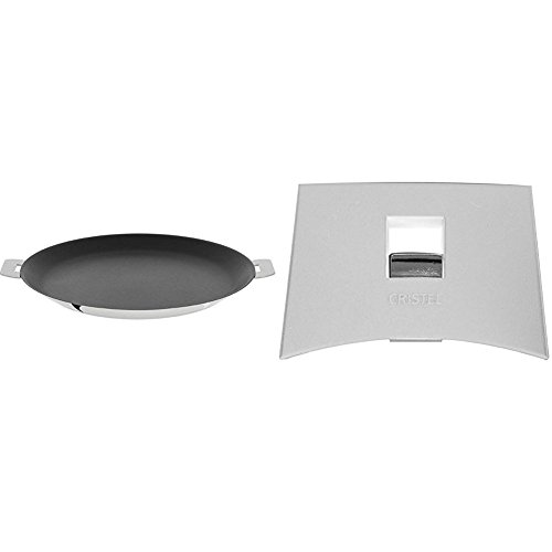 Cristel CR30QE Non-Stick Crepe Pan, Silver, 12'' with Cristel Mutine Spplmaw Set of Handles, White by