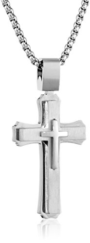 Lavari - Stainless Steel Triple Layers Cross Pendant Satin Finish 24