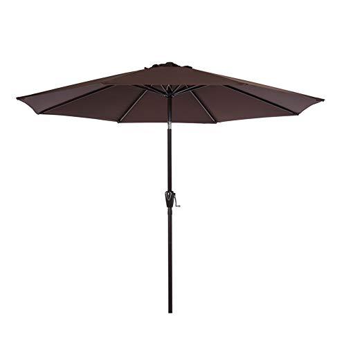- Sundale Outdoor 9 Feet Aluminum Market Umbrella Table Umbrella with Crank and Auto Tilt for Patio, Garden, Deck, Backyard, Pool, 8 Alu. Ribs, 100% Polyester Canopy (Coffee)