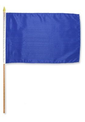 (12x18 Royal Blue Stick Flag mounted on a 24 inch wooden stick staff (Super Polyester ) cloth Fabric (Sewn Edges for Durability )12
