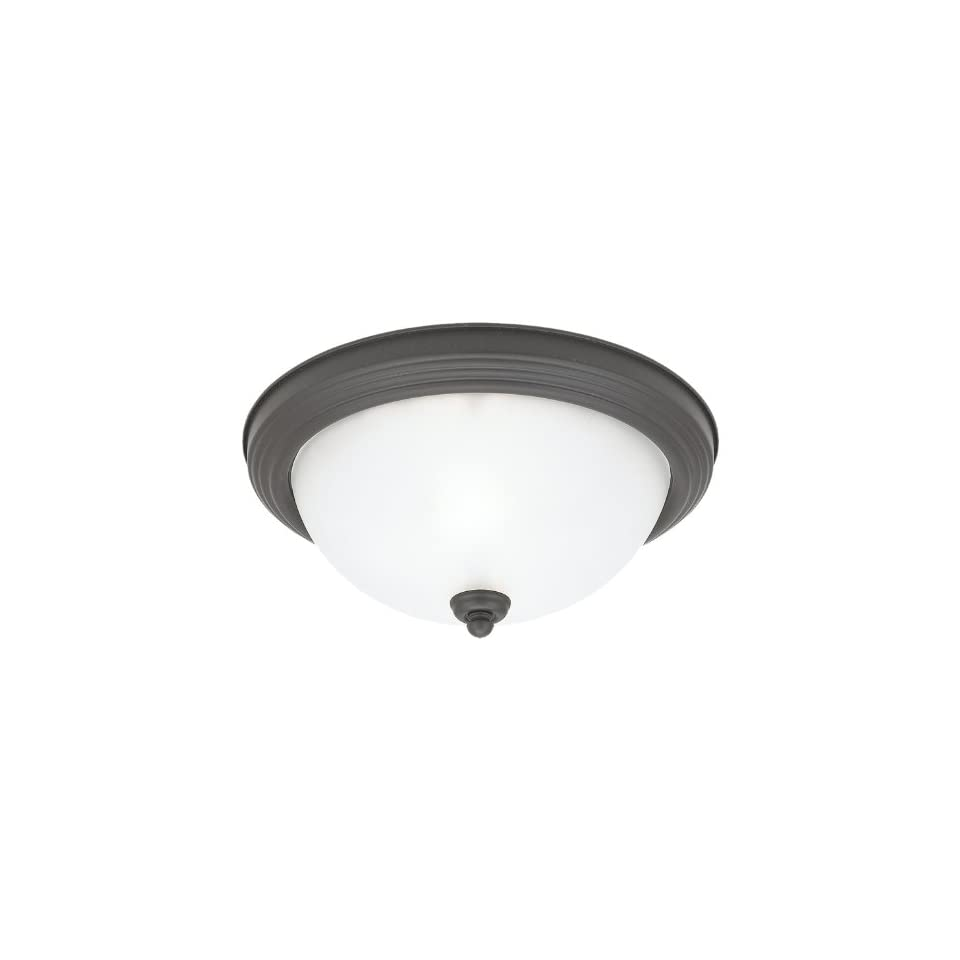 Sea Gull Lighting 77064 831 Stockholm Two Light Ceiling Fixture, Espresso Finish with Satin Etched Glass