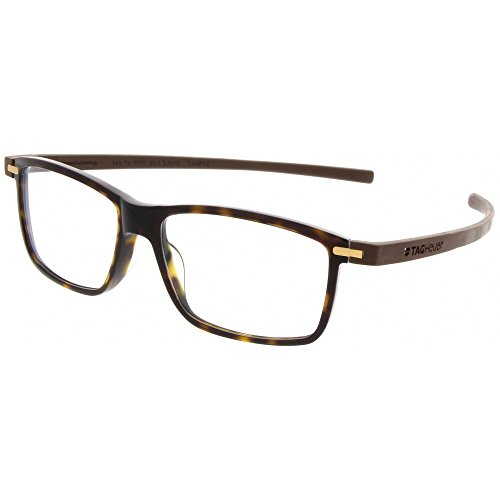 TAG Heuer 3955 Reflex 3 Rectangle Rx Prescription Ready Unisex Eyeglasses Frames (Tortoise / Havana, 53)