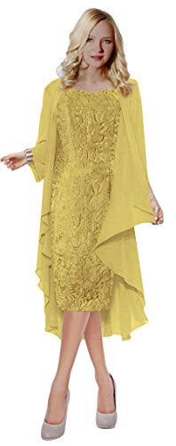 ThaliaDress Womens Lace Straps Mother of Bride Dress with Chiffon Shawl T107LF Gold US20W