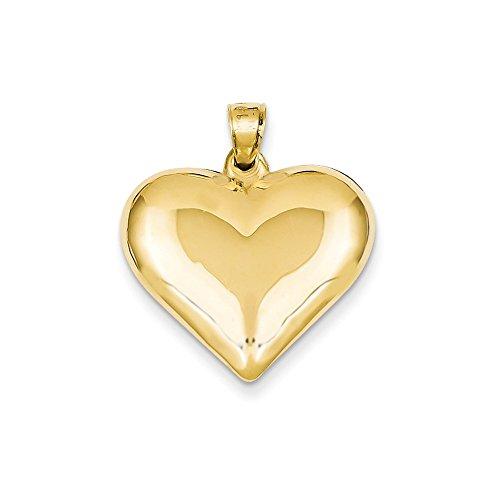 (14k Gold Puffed Heart Pendant (0.98 in x 0.87 in))