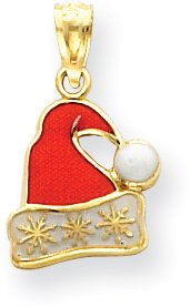 Quality Gold Santa Hat Charm, 14K Yellow Gold 14k Yellow Gold Santa