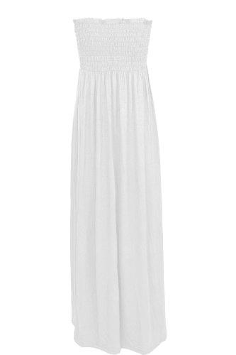 De mujer con Maxi vestido Oromiss elástico con una tira de sin tirantes vestidos de damas de panel inferior sin tirantes diseño de larga Reunidos blanco