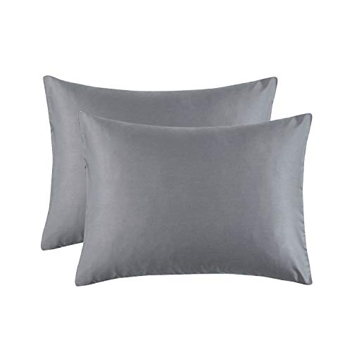 Wake In Cloud - Pack of 2 Pillow Cases, 600 TC Cotton Sateen Silky Smooth Soft Comfy Pillowcases, Dark Gray Grey Solid Plain Color (King Size, 20x36 Inches)