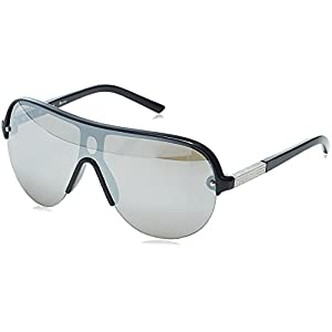 Guess G 2041 Mens Shield Half-rim Mirrored Lenses Sunglasses/Shades (0-0-134, Black / Gray)