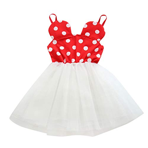 (RAINED-Baby Girls Tutu Dress Sleeveless Dot Infant Toddler Sundress Tulle Bubble Summer Wedding Birthday Princess Dress Red)