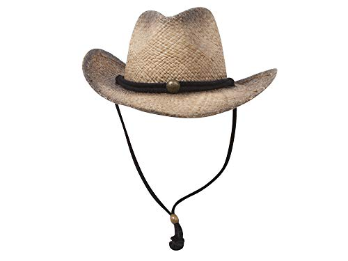 MG Tea Stained Raffia Straw Cowboy Hat - Tan with tint of black