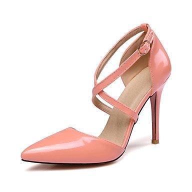 Talones de las mujeres Spring Club zapatos de la comodidad de cuero oficina y carrera banquete de boda y vestido de noche de tacón de aguja del Bowknot Amarillo Rosa Blanco Pink