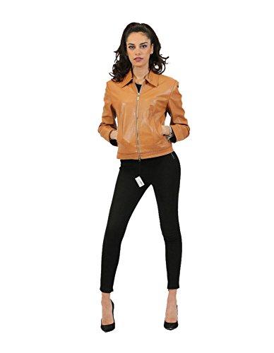 Woman Jacket in Tan Leather with Zip Inmoda