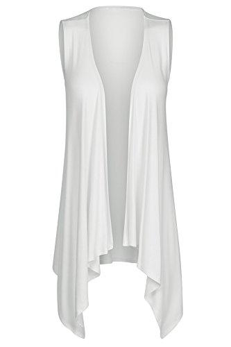 Lightweight Sleeveless (7019 Womens Lightweight Sleeveless Draped Open Front Cardigan Vest Off-White L)
