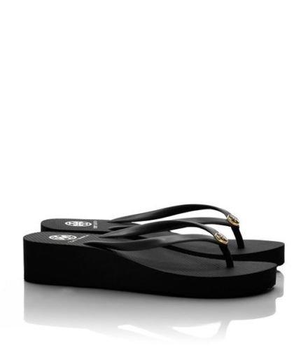 6ee8c873579e Tory Burch Black Women Wedge flip Flops Beach Sandals Slippers 6 7 8 9 10 (