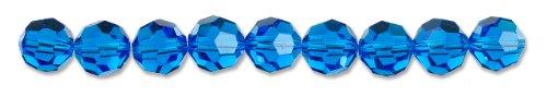 Cousin Crystazzi 8mm Round Capri Blue Crystal, 9-Piece