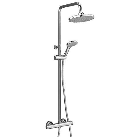 VeeBath Suffolk Round 8-Inch Bar Valve Shower Thermostatic Mixer Shower Valve Twin Head Round Shower Head - Chrome SUPM15