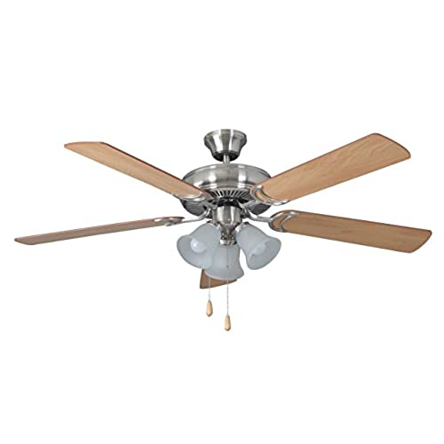 Dual ceiling fans amazon litex e dcf52bnk5c3 decorators choice 52 inch ceiling fan with five reversible light maplemahogany blades and three light kit with ribbed frosted glass mozeypictures Image collections