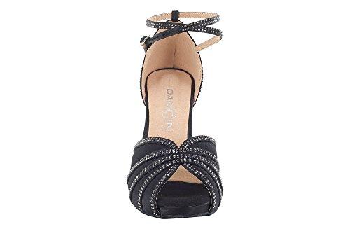 Crystal DRS Negro Mujer Suela Tacon Zapatos Strass y Plateau Raso Stiletto 7 con Baile 5 EN Negro cm de F4wTqHxR