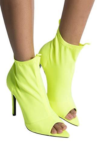 Cape Robbin Stretch Lycra Neon Pointed Peep Toe Stiletto Heel Pull On Sock BootieLime_9