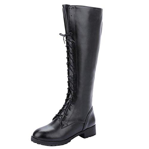 YE Damen Chunky heel Plateau Langschaft Stiefel Kniehoch mit Blockabsatz Schnürsenkel Schuhe Schwarz