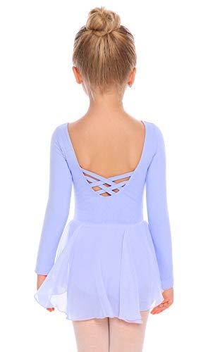 Arshiner Kids Girls Classic Long Sleeve Leotard Dance Ballet Dress, Sky Blue, 120(Age for 3-4Y)