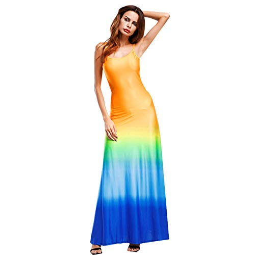 (iPOGP Girl Sexy Fashion Gradient Summer Sexy Sling Waist Long Skirt Strapless Sleeveless Maxi Party Dress Women's Fashion(Blue,XXXL))