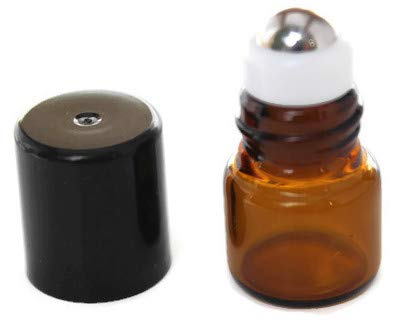 72-1 ml 1 4 Dram Amber Glass Micro Mini Roll-on Glass Bottles with Stainless Steel Roller Balls – Refillable Aromatherapy Essential Oil Roll On 72