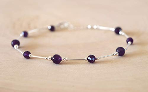 Amethyst Anklet Purple Sterling Silver Beach ()