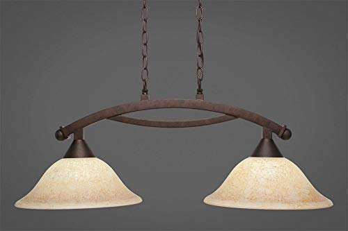 (Toltec Lighting 872-BRZ-528 Bow - Two Light Island, Bronze Finish with Italian Marble Glass)