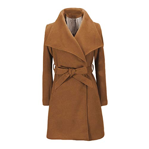 Big Elegant Cotton Moda Blends Cachi Pocket Bow Belt Donna Da Collar Coat Giacche Fangcheng Blend Solid Streetwear Tie Ladies Slim 6df5qww