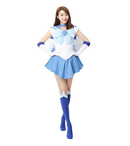OURCOSPLAY Women's Sailor Moon Mercury Mizuno Ami Battle Cosplay Costume Dress 6 Pcs Set (Women US S/CN M)
