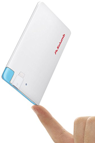 Ultra-Slim Ultra-Portable Ultra-Safe 2500mAh Wallet Pocket Power Card Power Bank, ONE-for-ALL External MINI Battery for Most Smart Phone and Digital Devices(White with Lightning Adapter) -