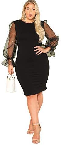 SheIn Women's Plus Size Elegant Mesh Contrast Pearl Beading Sleeve Stretchy Bodycon Pencil Dress