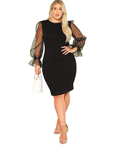 SheIn Women's Plus Size Elegant Mesh Contrast Pearl Beading Sleeve Stretchy Bodycon Pencil Dress Black 3X-Large