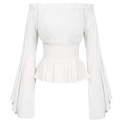 Women Off Shoulder Peasant Blouse Renaissance Tops T Shirts L White]()