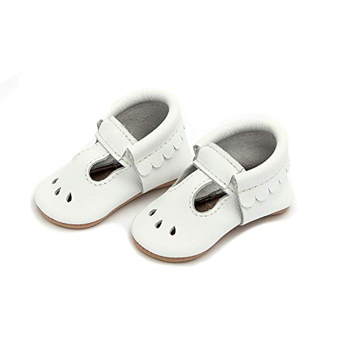 Freshly Picked - Soft Sole Leather Mary Jane Moccasins - Baby Girl Shoes - Size 1 Bright White