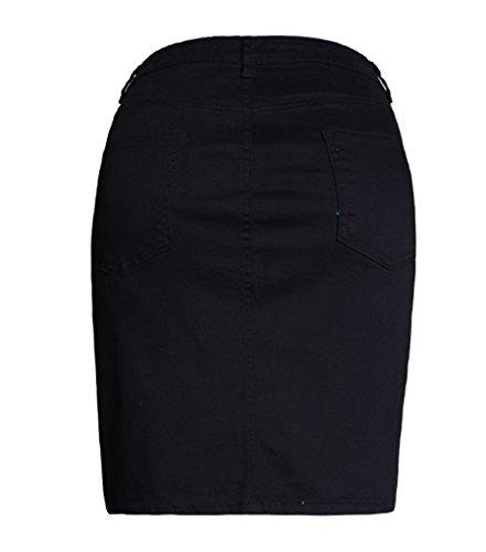 Baymate Mujeres Verano Bodycon Falda Cintura Alta Remache Decoración Mini Vestidos Negro