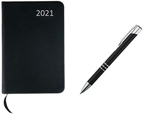 Taschenkalender 2021 / ca A7 / PU Einband / Farbe: schwarz+Metall Kugelschreiber
