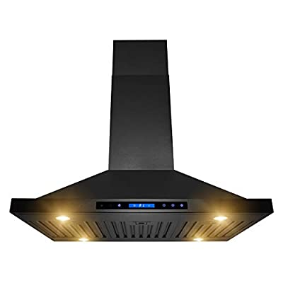"AKDY Island Mount Range Hood 36"" Black Painted Finish Stainless-Steel Hood Fan for Kitchen 4-Speed Professional Quiet Motor Premium Touch Control Panel - Minimalist Design"