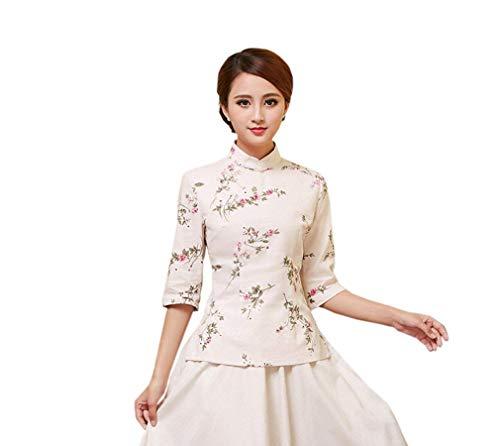 Col Style De Casual breal Shirt Longues Qualit Automne Modle Manches Farbe5 Tops Chemisier Mode Chemisiers Haute Debout Femme Cheongsam Chinois Fleur Vintage Elgante Printemps q1wq87U