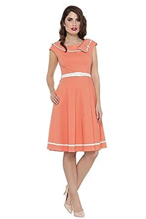f4828581cd0 VOODOO VIXEN - Lorna Pastel Summer Dress L Peach  Amazon.co.uk  Clothing