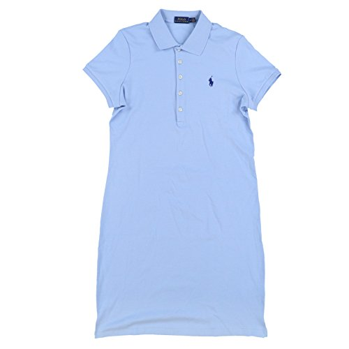 RALPH LAUREN Polo Womens Interlock Polo Dress (Large, Light Blue)