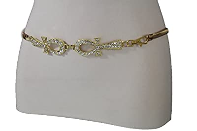TFJ Women Fashion Belt Elastic Metal Hip Waist Crosses Buckle Plus M L XL Gold
