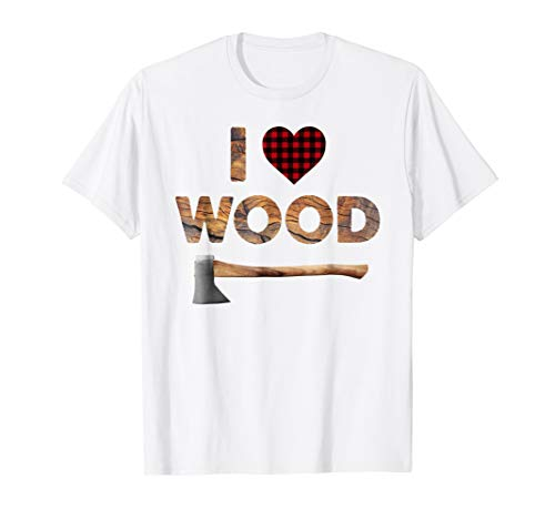 I Love Wood T-Shirt Lumberjack Heart Halloween Costume Tee