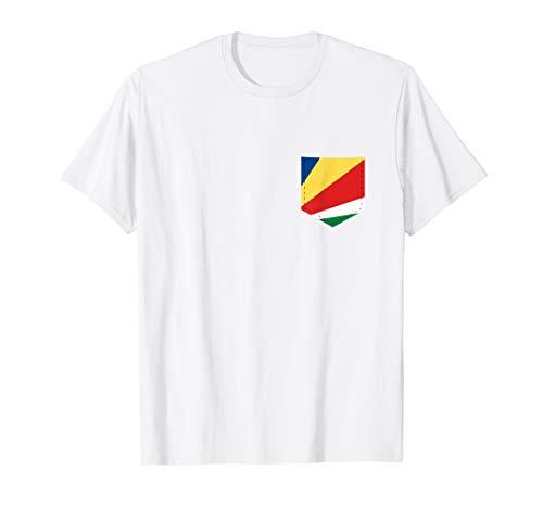 Seychelles Flag T-Shirt with Printed Seychellois Flag Pocket ()