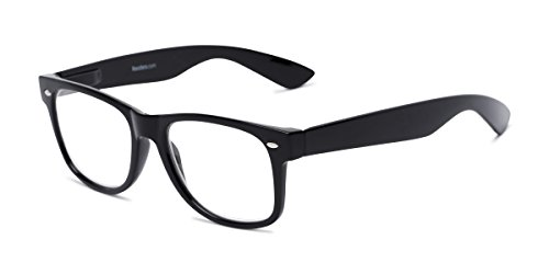 - Readers.com Fully Magnified Reading Glasses: The Red Bluff, Classic Retro Square Full Frame Reader for Women and Men - Black, 1.00