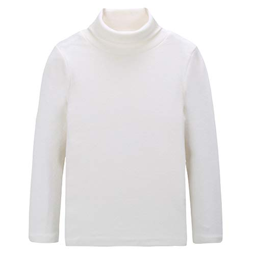 - CUNYI Boys Girls Turtleneck Long Sleeve Cotton T-Shirts Solid Color Tops, White, 140