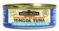 Crown Prince Natural Tongol Tuna Chunk Light In Spring Water No Salt Added -- 5 (5 Ounce Spring)